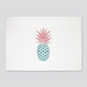 Watercolor Pink & Blue Pineappl 5'x7'Area Rug