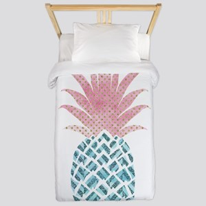 Watercolor Pink & Blue Pineap Twin Duvet Cover