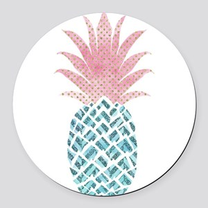 Watercolor Pink & Blue Pineap Round Car Magnet