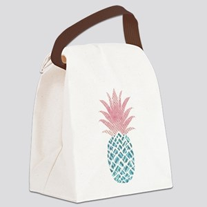 Watercolor Pink & Blue Pineap Canvas Lunch Bag