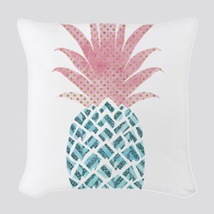Watercolor Pink & Blue Pin Woven Throw Pillow