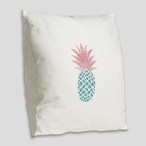 Watercolor Pink & Blue Pin Burlap Throw Pillow