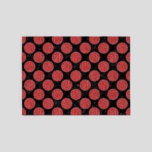 CIRCLES2 BLACK MARBLE & RED DENIM ( 5'x7'Area Rug