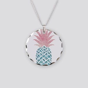 Watercolor Pink & Blue P Necklace Circle Charm