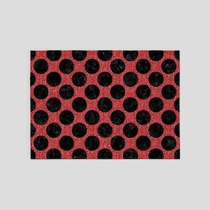 CIRCLES2 BLACK MARBLE & RED DENIM 5'x7'Area Rug