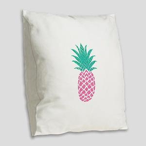 Watercolor Pink & Aqua Pin Burlap Throw Pillow