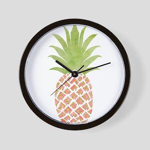 Watercolor Peach Pineapple Wall Clock