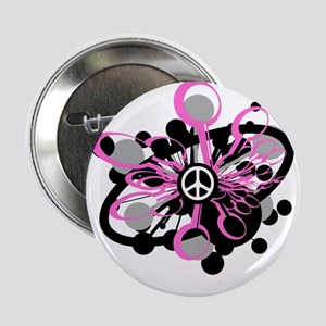 Pink Peace Burst Button
