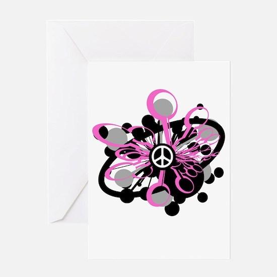 Pink Peace Burst Greeting Card