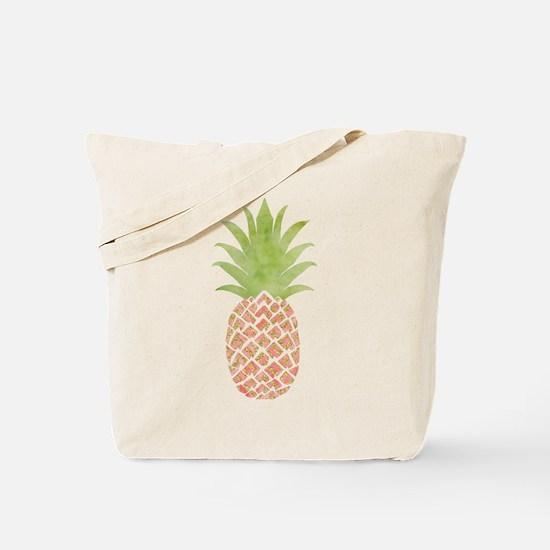 Watercolor Peach Pineapple Tote Bag