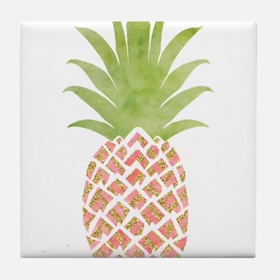 Watercolor Peach Pineapple Tile Coaster