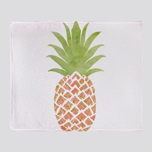 Watercolor Peach Pineapple Throw Blanket