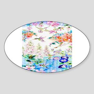 Hummingbirds and Flowers Landscape Sticker
