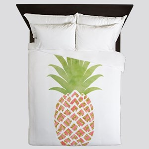 Watercolor Peach Pineapple Queen Duvet