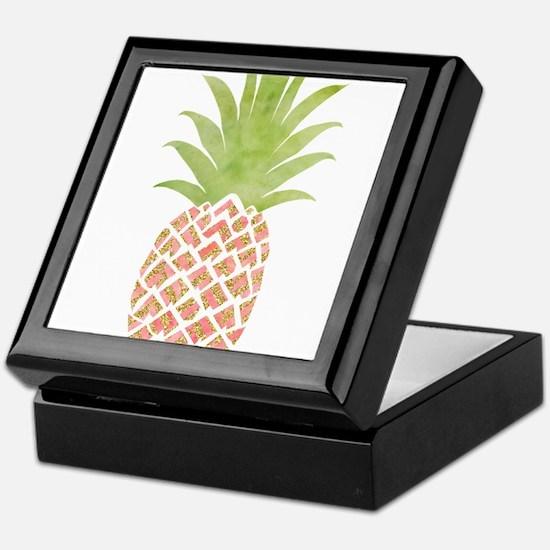 Watercolor Peach Pineapple Keepsake Box