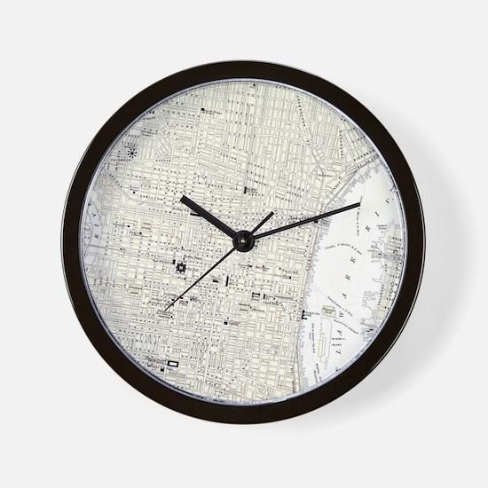 Vintage Map of Philadelphia (1885) Wall Clock