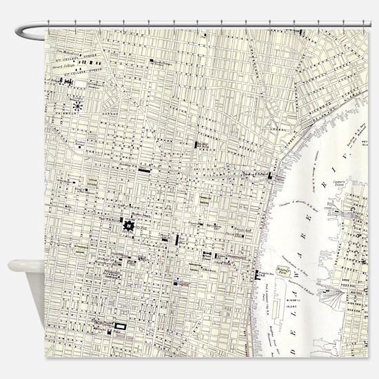 Vintage Map of Philadelphia (1885) Shower Curtain