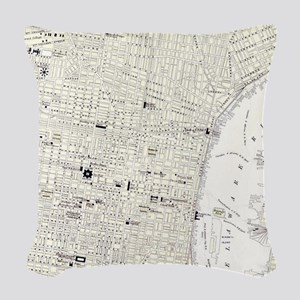 Vintage Map of Philadelphia (1 Woven Throw Pillow