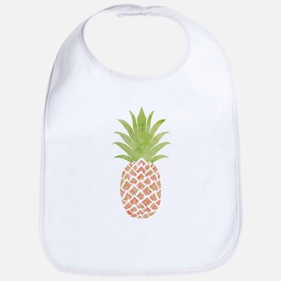Watercolor Peach Pineapple Baby Bib