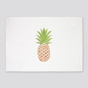 Watercolor Peach Pineapple 5'x7'Area Rug