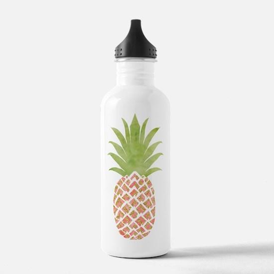 Watercolor Peach Pinea Sports Water Bottle