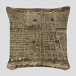 Vintage Pictorial Map of Phila Woven Throw Pillow