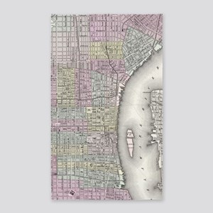 Vintage Map of Philadelphia (1855) Area Rug