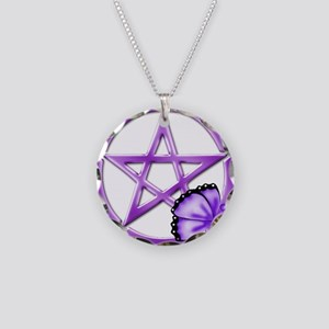 Pretty Purple Pentacle - Butterfly Necklace