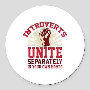 Introverts Unite Round Car Magnet