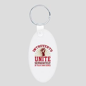 Introverts Unite Aluminum Oval Keychain