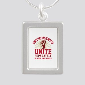 Introverts Unite Silver Portrait Necklace