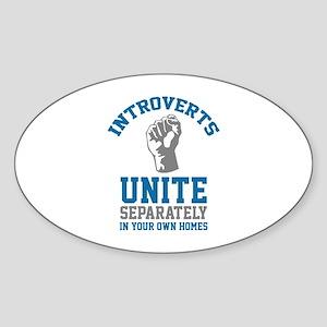 Introverts Unite Sticker (Oval)