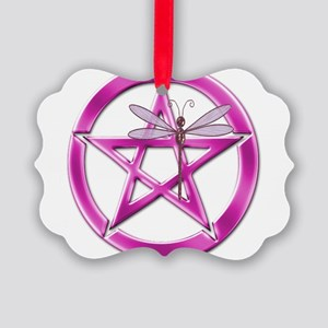 Pink Pentacle Dragonfly Ornament