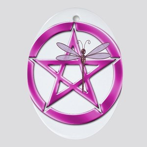 Pink Pentacle Dragonfly Ornament (Oval)