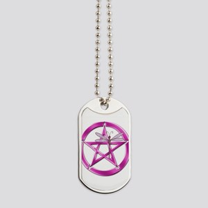 Pink Pentacle Dragonfly Dog Tags