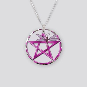 Pink Pentacle Dragonfly Necklace