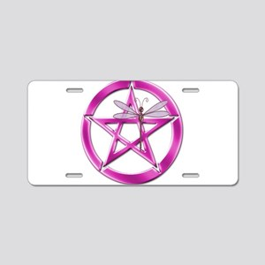 Pink Pentacle Dragonfly Aluminum License Plate