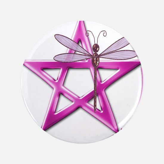 Pink Pentacle Dragonfly Button