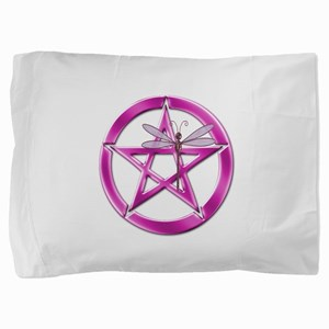 Pink Pentacle Dragonfly Pillow Sham
