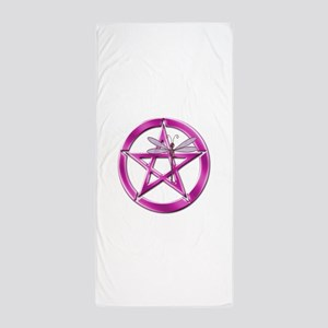 Pink Pentacle Dragonfly Beach Towel