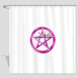 Pink Pentacle Dragonfly Shower Curtain