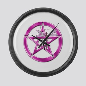 Pink Pentacle Dragonfly Large Wall Clock