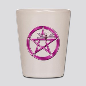 Pink Pentacle Dragonfly Shot Glass
