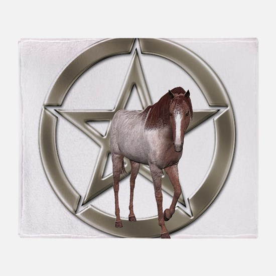 Silver Pentacle - Spirit of The Horse Throw Blanke