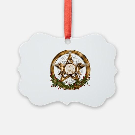 Gold Triple Moon Pentacle Ornament