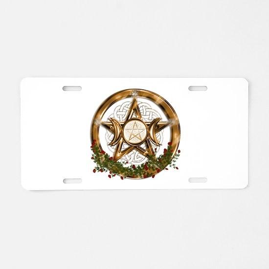 Gold Triple Moon Pentacle Aluminum License Plate