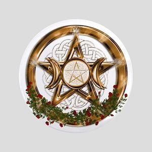 Gold Triple Moon Pentacle Button
