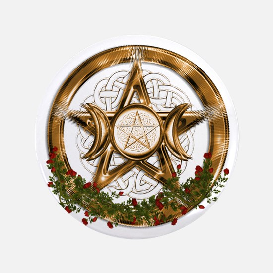 Gold Triple Moon Pentacle Button