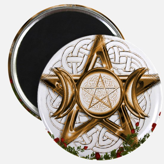 Gold Triple Moon Pentacle Magnets
