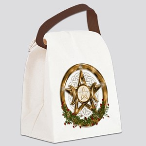 Gold Triple Moon Pentacle Canvas Lunch Bag